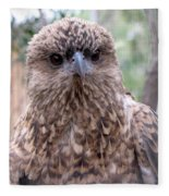 Brown Hawk Face Profile Fleece Blanket