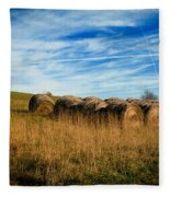 Hay Bales And Contrails Fleece Blanket