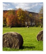 Hay Bales And Fall Colors Fleece Blanket