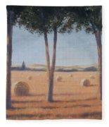 Hay Bales And Pines, Pienza, 2012 Acrylic On Canvas Fleece Blanket