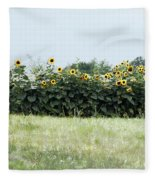 Hay Bales And Sunflowers Fleece Blanket