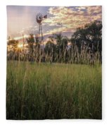 Hay Field Sunset Fleece Blanket