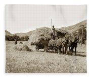 Horse-drawn Hay Wagon Carmel Valley California Circa 1905 Fleece Blanket