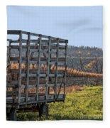 Hay Wagon In Field Fleece Blanket