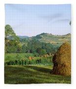 Haystack At The Hillside, Transylvania Fleece Blanket