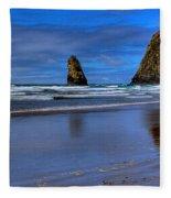Haystack Rock And The Needles II Fleece Blanket