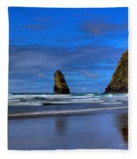 Haystack Rock And The Needles IIi Fleece Blanket