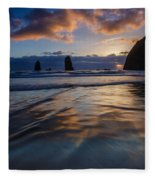 Haystack Rock And The Needles Fleece Blanket
