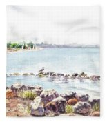 Hazy Morning At Crab Cove In Alameda California Fleece Blanket