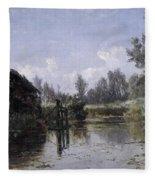 The Lake In Friesland Fleece Blanket