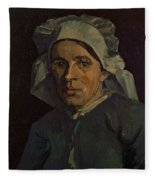 Head Of A Peasant Woman With White Cap Fleece Blanket