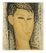 Head Of A Young Women Fleece Blanket