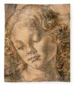 Head Of An Angel Fleece Blanket