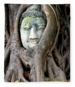 Head Of The Sandstone Buddha Fleece Blanket