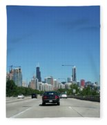 Heading North On Lake Shore Drive In Chicago Fleece Blanket