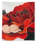Healing Painting Baby Sleeping In A Rose Fleece Blanket