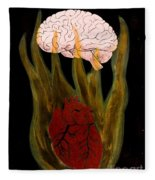 Heart Cooks Brain Fleece Blanket