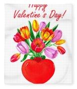 Heart Full Of Tulips Valentine Bouquet  Fleece Blanket