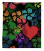 Heart In Flowers Fleece Blanket