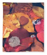 Heart Leaves Fleece Blanket