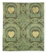 Heart Motif Ecclesiastical Wallpaper Fleece Blanket