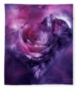 Heart Of A Rose - Burgundy Purple Fleece Blanket