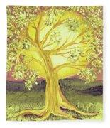 Heart Of Gold Tree By Jrr Fleece Blanket