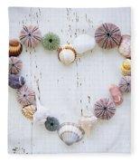 Heart Of Seashells And Rocks Fleece Blanket