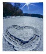 Heart Outlined On Snow On Topw Of Frozen Lake Fleece Blanket