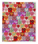 Heart Patches Fleece Blanket