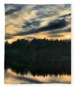 Heart Pond Sunset Fleece Blanket