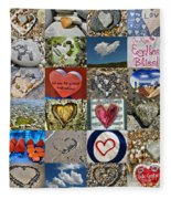 Heart Shape Collage  Fleece Blanket