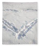 Heart Shape In Snow Fleece Blanket