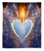 Heart Shape On Sunset Sky Fleece Blanket