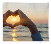 Heart Shaped Hands Framing Ocean Sunset Fleece Blanket