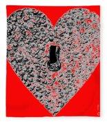 Heart Shaped Lock - Red Fleece Blanket