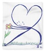 Heart Touches Flower Lovingly Fleece Blanket