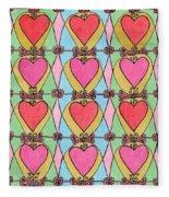 Hearts A'la Stained Glass Fleece Blanket