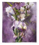 Heirloom Iris In Iris Vase Fleece Blanket