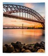Hell Gate And Triboro Bridge At Sunset Fleece Blanket