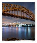 Hell Gate And Triboro Bridge By Night Fleece Blanket