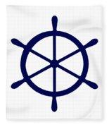 Helm In Navy Blue And White Fleece Blanket