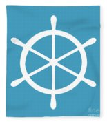 Helm In White And Turquoise Blue Fleece Blanket