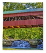 Helmick Mill Or Island Run Covered Bridge  Fleece Blanket