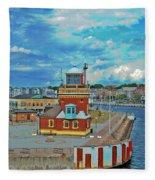Helsingborg Lighthouse Hdr Fleece Blanket