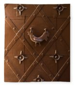 Hen Shaped Doorknob On A Brown Metal Doors Fleece Blanket