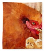 Hen With Chick On Wood Fleece Blanket
