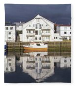 Henningsvaer Panoramic View Fleece Blanket