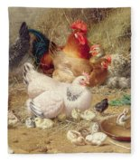 Hens Roosting With Their Chickens Fleece Blanket