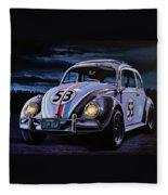 Herbie The Love Bug Painting Fleece Blanket